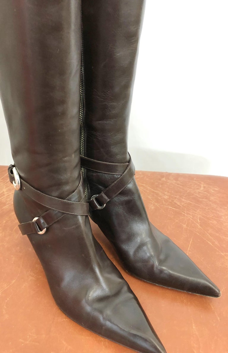 Michael Kors Collection Size 8 Chocolate Brown Leather High Heel Knee High Boots For Sale 3