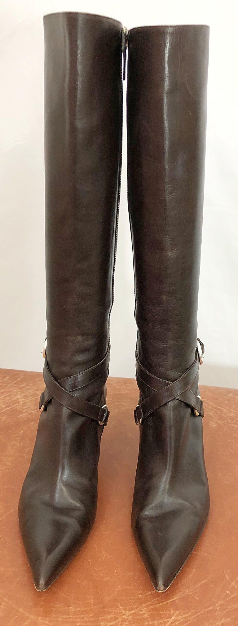 Michael Kors Collection Size 8 Chocolate Brown Leather High Heel Knee High Boots For Sale 4