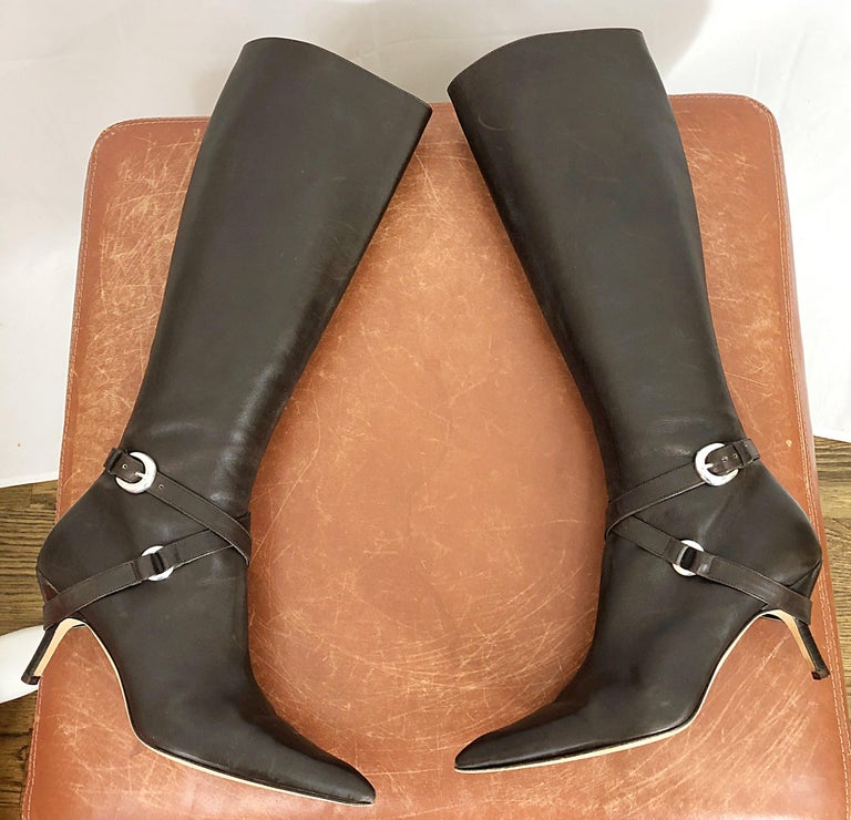 Michael Kors Collection Size 8 Chocolate Brown Leather High Heel Knee High Boots For Sale 5