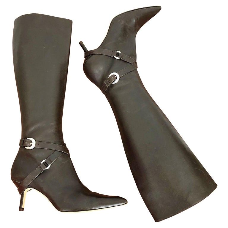 Michael Kors Collection Size 8 Chocolate Brown Leather High Heel Knee High Boots For Sale