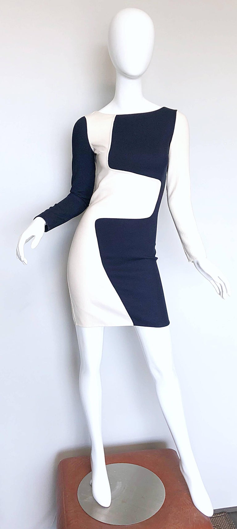 Flattering MICHAEL KORS COLLECTION Spring / Summer 2013 navy blue and white color block ' puzzle ' 1960s / 60s style runway dress! Signature double faced virgin wool stretches to fit. Any MK fan knows that the designer really knows how to accentuate