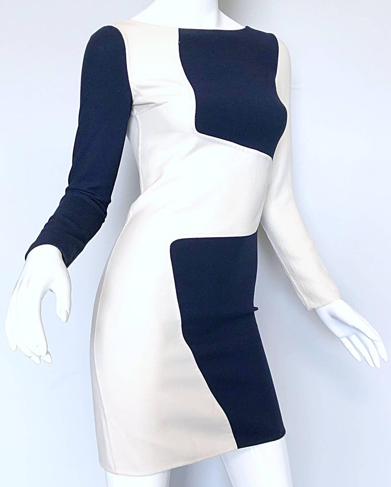 Michael Kors Collection Spring 2013 Size 0 / 2 Navy Blue and White Puzzle Dress In Excellent Condition For Sale In Chicago, IL