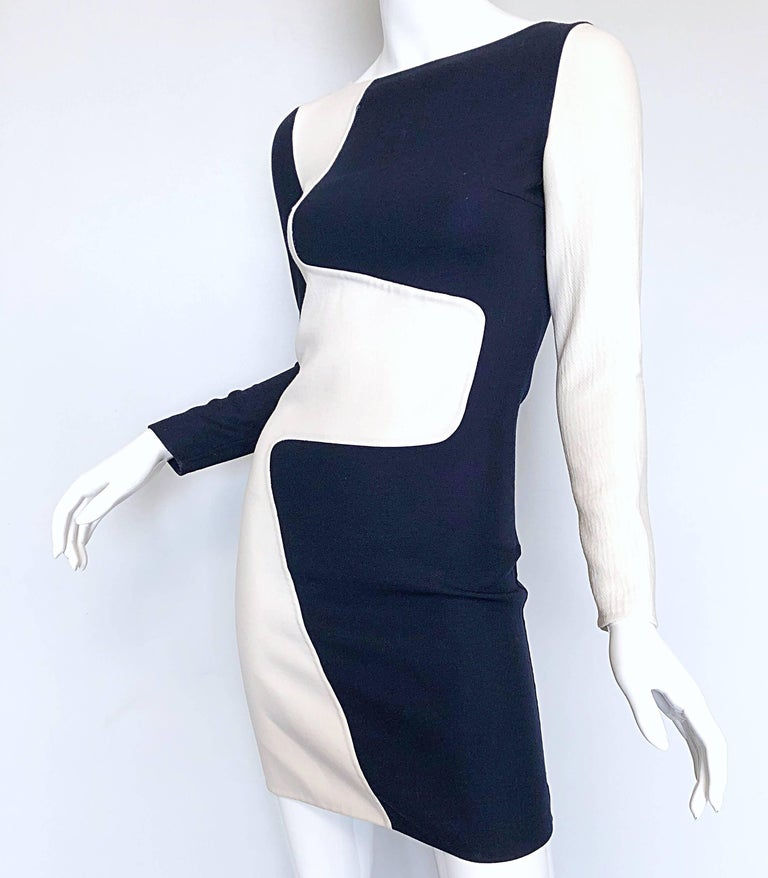 Michael Kors Collection Spring 2013 Size 0 / 2 Navy Blue and White Puzzle Dress For Sale 2