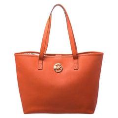 Michael Kors Dark Orange Leather Shopper Tote