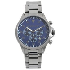 Michael Kors Gage Chronograph Gunmetal Steel Blue Dial Quartz Men's Watch MK8443