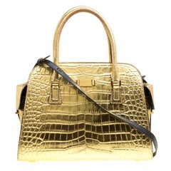 Michael Kors Gold Croc Embossed Leather Gia Top Handle Bag