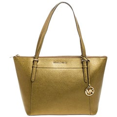 Michael Kors Gold Leather Large Ciara Tote