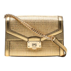 Michael Kors Gold Straw and Leather Medium Kinsley Shoulder Bag