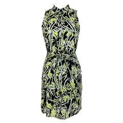 Michael Kors Green Black Floral Short Cocktail Dress