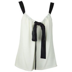 Michael Kors Ivory and Black Silk Camisole w/ Ribbon Straps - NWT - 8