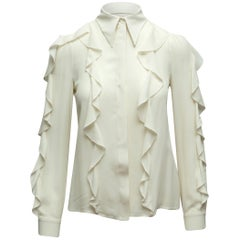 Michael Kors Ivory Collection Ruffle-Trimmed Top