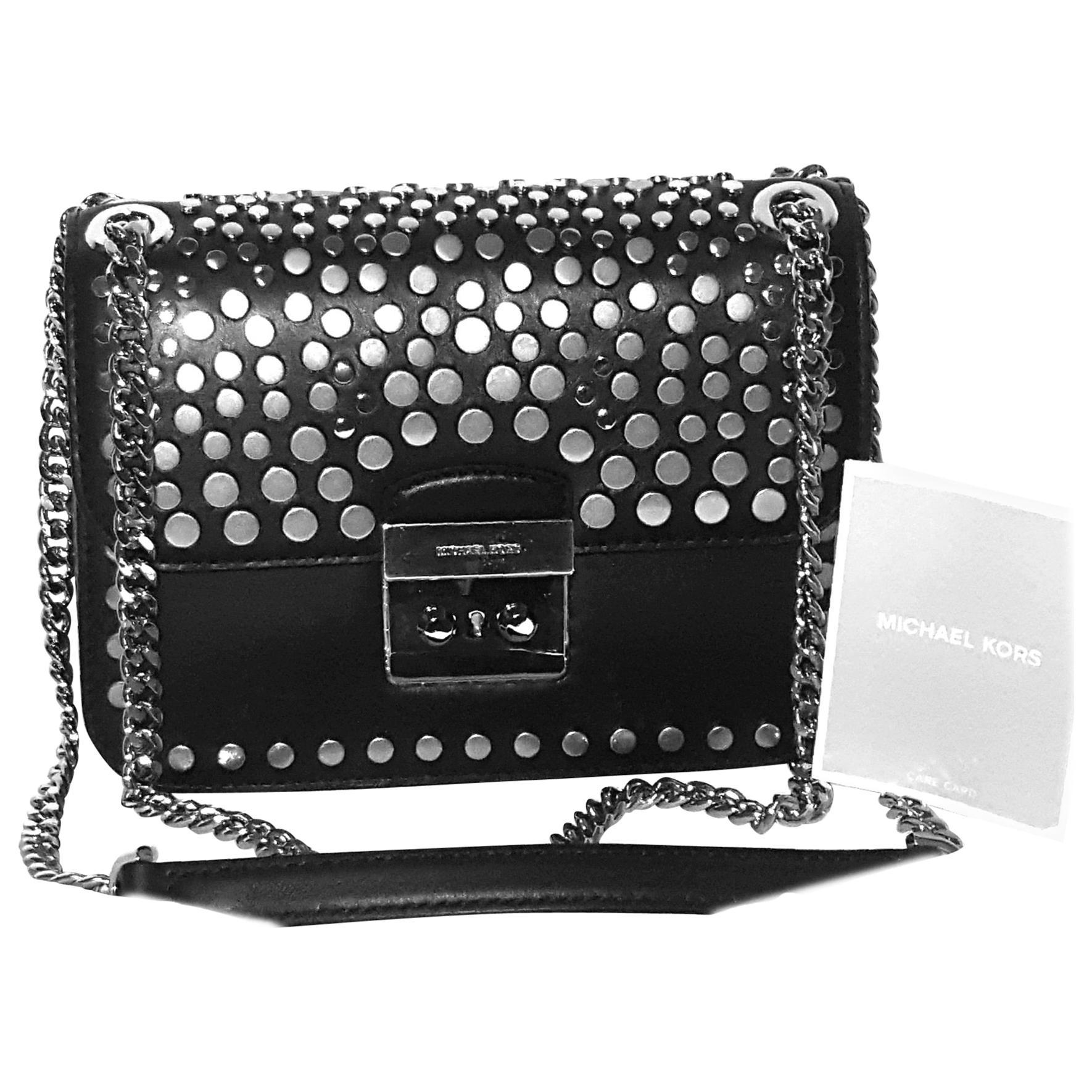 afa3de2a38de Michael Kors Jenkins Studded Black Leather Bag NEW W Tags at 1stdibs