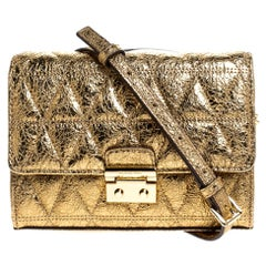 Michael Kors Metallic Gold Quilted Leather Crossbody Bag