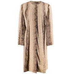 Michael Kors Natural Python Leather Longline Coat L