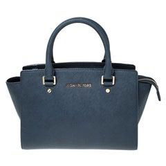 Michael Kors Navy Blue Saffiano Leather Selma Tote