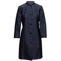 Michael Kors Navy Raw Silk Long Coat
