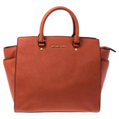 Michael Kors Orange Saffiano Leather Medium Selma Tote