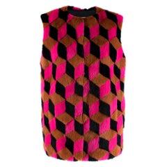 Michael Kors Pink Brown & Black Geometric Mink Fur Gilet - Us Size 8