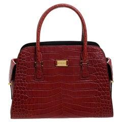 Michael Kors Red Croc Embossed Leather Gia Satchel