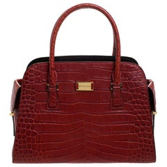 Michael Kors Red Croc Embossed Leather Gia Satchel