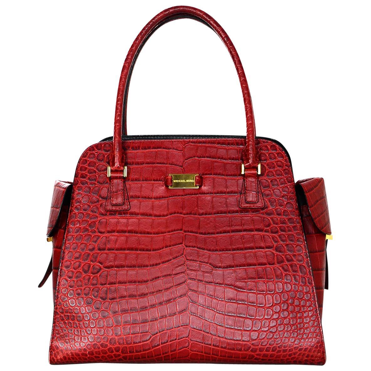 michael kors red leather embossed croc gia tote bag w side pockets rh 1stdibs com