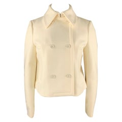 MICHAEL KORS Size 12 Cream Virgin Wool Double Breasted Jacket