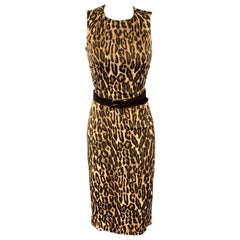 MICHAEL KORS Size 2 Brown Leopard Print Rayon Shift Dress