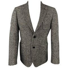 MICHAEL KORS Size 36 Black & Grey Houndstooth Wool Blend Sport Coat