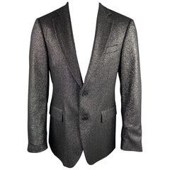 MICHAEL KORS Size 40 Regular Black & Silver Metallic Wool Blend Sport Coat