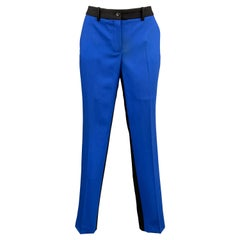 MICHAEL KORS Size 6 Black & Blue Color Block Virgin Wool Blend Dress Pants