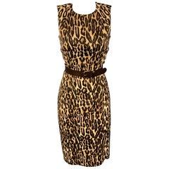 MICHAEL KORS Size 6 Brown Leopard Print Rayon Shift Dress