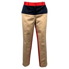 MICHAEL KORS Size 6 Khaki & Red Color Block Cotton Dress Pants