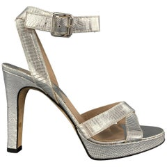 MICHAEL KORS Size 9.5 Metallic Silver Lizard Embossed Leather Platform Sandals