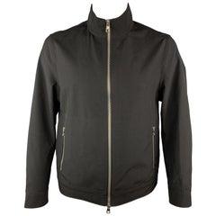 MICHAEL KORS Size L Black Wool Zip Up Zip Pockets Snaps Jacket