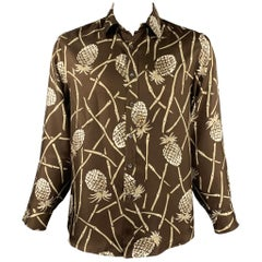 MICHAEL KORS Size L Brown & White Print Silk Button Up Long Sleeve Shirt