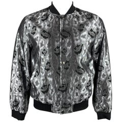 MICHAEL KORS Size M Silver & Black Leopard Jacquard Silk Blend Bomber Jacket