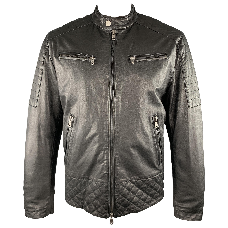 MICHAEL KORS Size XL Black Quilted Patch Leather Biker Jacket