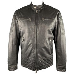 MICHAEL KORS Size XL Black Quilted Patch Leather Biker Jacket