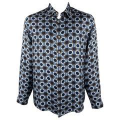 MICHAEL KORS Size XL Blue & Brown Print Silk Button Up Long Sleeve Shirt
