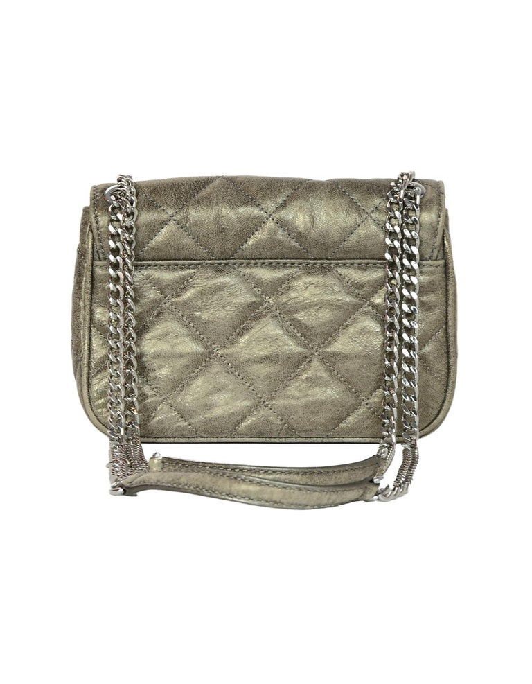 30d65cd662 Gray Michael Kors Sueded Leather Distressed Metallic Quilted Sloan Flap  Crossbody Bag For Sale