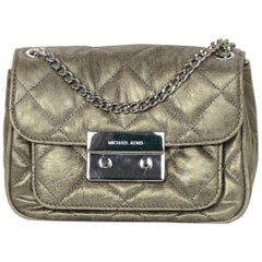 Michael Kors Sueded Leather Distressed Metallic Quilted Sloan Flap Crossbody Bag