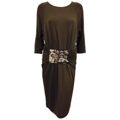 Michael Kors True Taupe Belted Sheath Dress With Dolman Sleeves