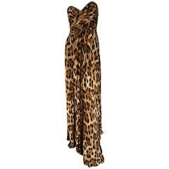 Michael Kors Vintage Strapless Leopard Print Evening Dress