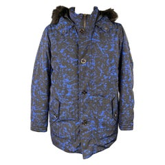 MICHAEL KORS Weather Engineered Size XL Black & Blue Print Polyester Hooded Park