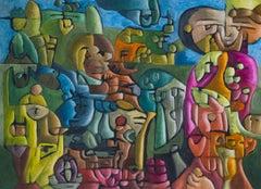 """Rendezvous"" bright colors, transparent glazes, figurative abstraction"
