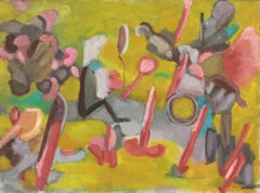 Bright Abstracted Figures, Oil Painting, 1957