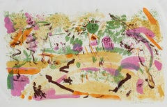 Bright Abstracted Springtime Landscape Lithograph, 1956