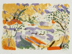 Bright Springtime Abstracted Landscape 1950-60s Lithograph