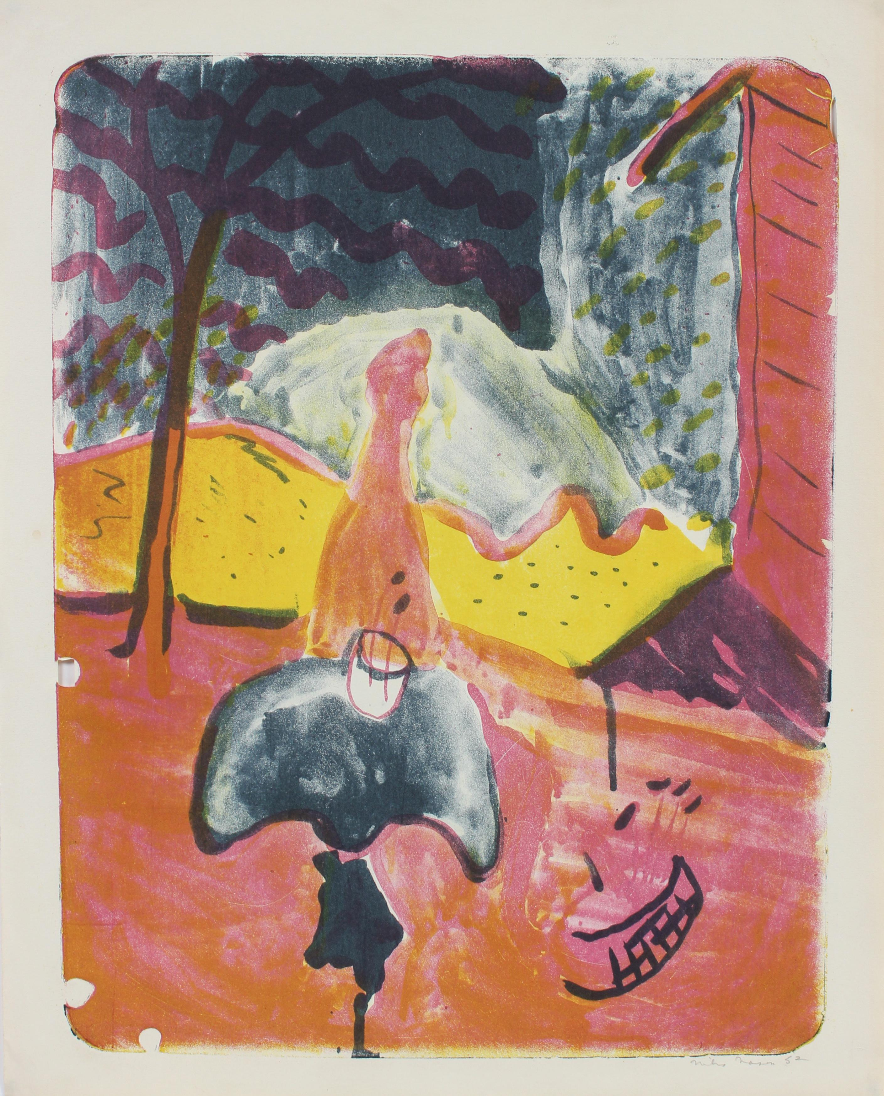 Colorful Abstracted Landscape Lithograph on Paper with Pink and Yellow, 1952