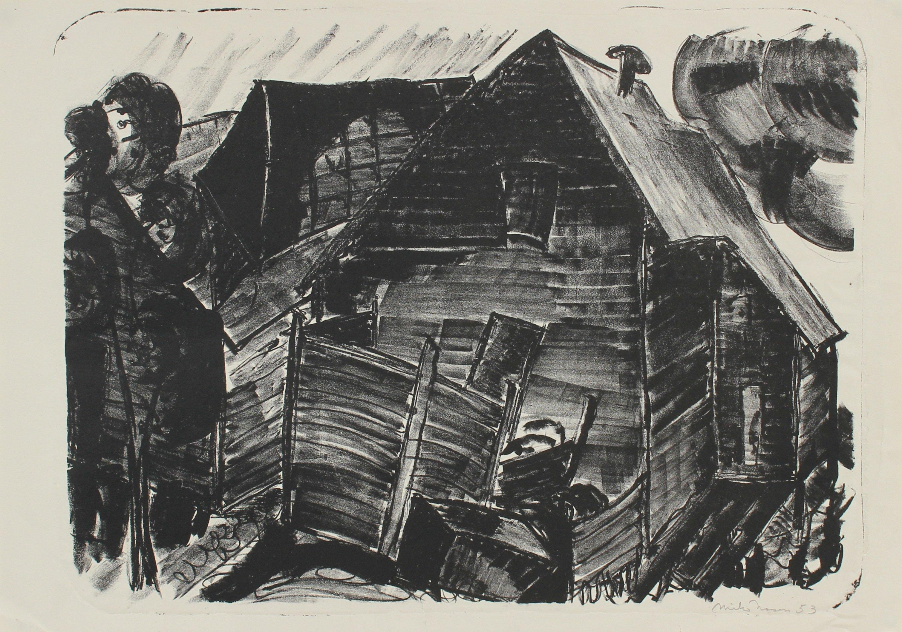 Monochrome Graphic Abstracted Barn 1953 Lithograph